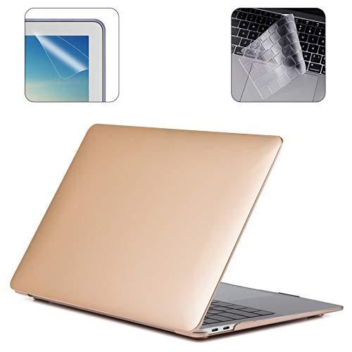 i-Buy Gummierte Harte Schutzhülle Hülle für Apple MacBook Air 13 Zoll (Modell A1932 2018.11 Freigabe) + TPU Tastaturschutz + Schutzfolie- Goldene