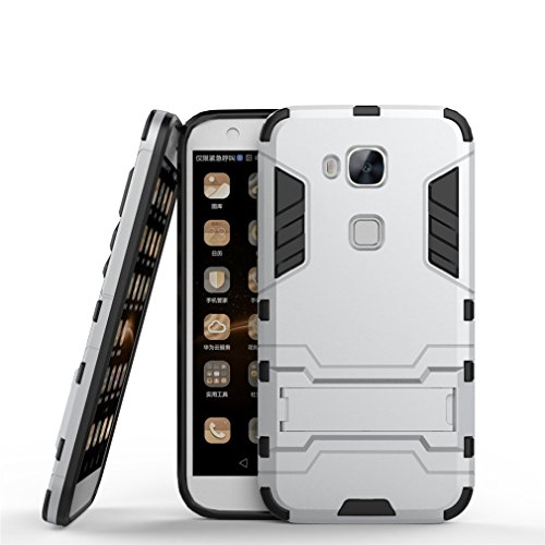 YHcase Huawei G8 Hülle, Huawei GX8 Hülle, Hybrid 2in1 TPU+PC Schutzhülle Rugged Armor Case Cover Dual Layer Bumper Backcover mit Ständer für Huawei G8 / GX8 (Sliver)