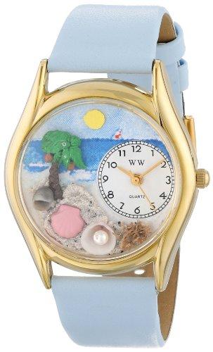 Palme Uhr (Drollige Uhren Palme Babyblau Leder und goldfarbener Unisex Quartz-Uhr mit weißem Zifferblatt Analog-Anzeige und C-1210010 Mehrfarbige Lederband)
