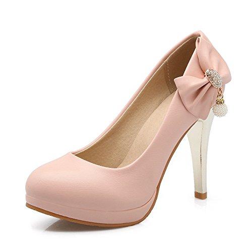 VogueZone009 Damen Rein Rein Rein Pu Leder Stiletto Rund Zehe Ziehen Auf Pumps Schuhe Pink  [B06XWPW8PY] 0218c0