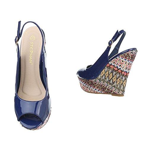 Keilsandaletten Damen Schuhe Plateau Keilabsatz/ Wedge Keilabsatz Ital-Design Sandalen / Sandaletten Blau