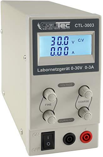 Labornetzgerät mit beleuchtetem Display 0-30V Regelbar I max. 3A 90Watt Kurzschlussfest Überlastschutz 30 Volt 3 Ampere