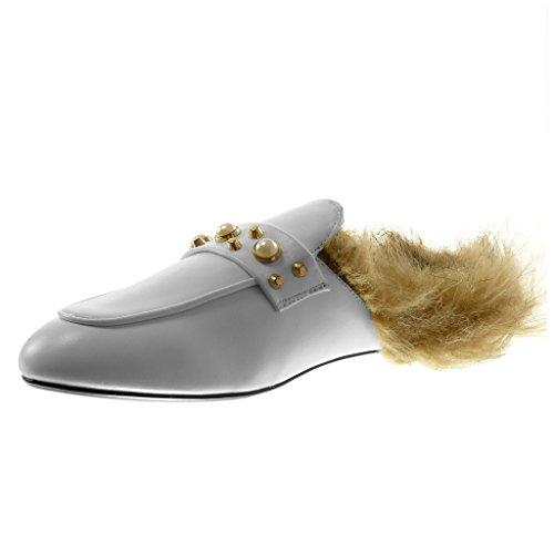 Angkorly Chaussure Mode Mocassin Babouche femme fourrure clouté perle Talon bloc 1.5 CM Blanc