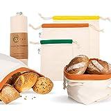 Vatum Brotbeutel - 3er Set Obst- und Gemüsebeutel aus Bio-Baumwolle - Wiederverwendbare Baumwollbeutel für...