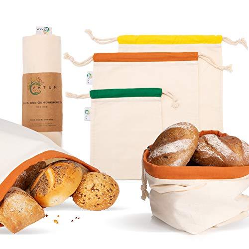 Vatum Brotbeutel 3er Set aus Bio Baumwolle (GOTS) - Obst- und Gemüsebeutel für Zero Waste inkl. E-Book - umweltfreundlicher Brotsack mit Kordelzug - Wiederverwendbare Baumwollbeutel