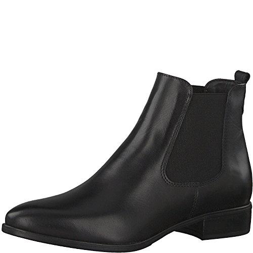 Tamaris Damen Chelsea Boots 25095-21,Frauen Stiefel,Halbstiefel,Stiefelette,Bootie,Schlupfstiefel,flach,Blockabsatz 2.5cm,Black Leather,EU 38