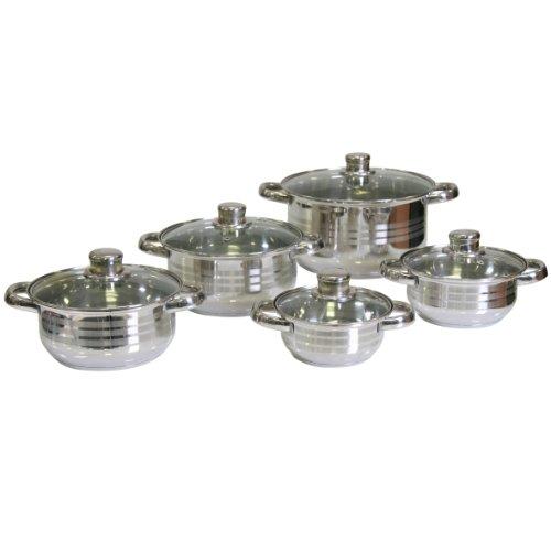 Topfset 10-teilig Edelstahl Kochtöpfe mit Glasdeckel Kochtopfset mit Schleifdekor Topfset Töpfe - Topf Durchmesser jeweils ca. 14,16,18,20 und 24 cm
