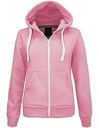 Lona New Womens Plain Zip Fleece Apparel Hoody Sweatshirt Ladies Jacket Coat