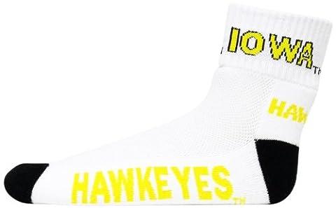 NCAA Iowa Hawkeyes Men's Heel Toe Quarter Socks, White/Gold/Black