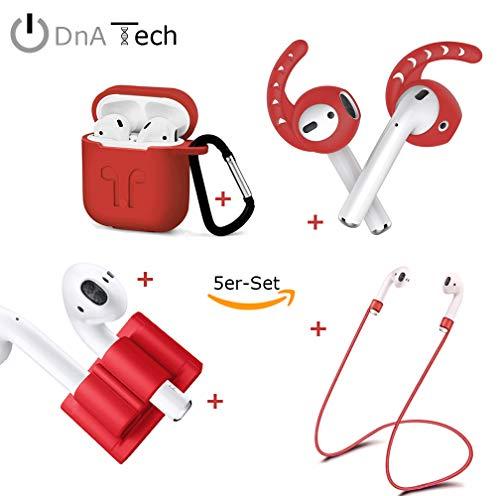 AirPods 5in1-Set by DnA Tech®   1X EarPlugs – 1X Schutzhülle – 1X Smart Holder - 1X Strap - 1X Karabiner   Ultimative All-in-One Set für Deine Apple AirPods [Kopfhörer Nicht enthalten!]
