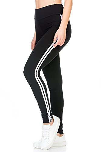 Blinkin yoga gym Workout and active sports fitness Black Stripe Leggings tights For Women|Girls(5550) (XX-Large,White)