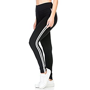 BLINKIN Yoga Gym Workout and Active Sports Fitness Black Stripe Polyester Leggings Tights for Women|Girls