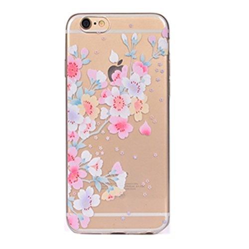 iPhone 6 Crystal Case Durchsichtig TPU bunte Sterne Hülle – Case Optik Schutzhülle Abstrakt Transparent Muster Design – MOVOJA – Sterne-bunt Blüten