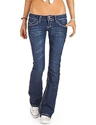 Bestyledberlin Damen Jeans, Bootcut Hüftjeans, Schlaghosen j73e