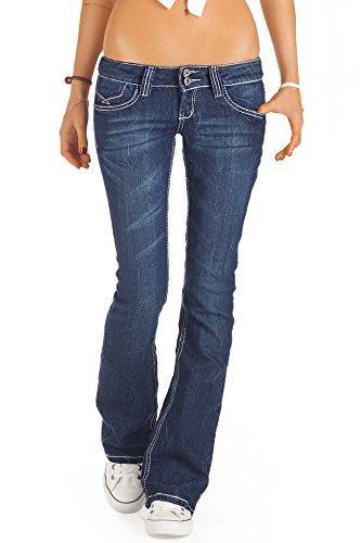 Bestyledberlin Damen Jeans, Bootcut Hüftjeans, Schlaghosen j73e Blau