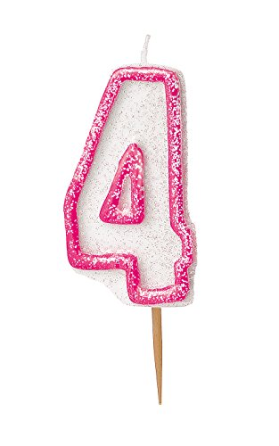 Unique Party- Vela de cumpleaños número 4, Color rosa brillante (37914)