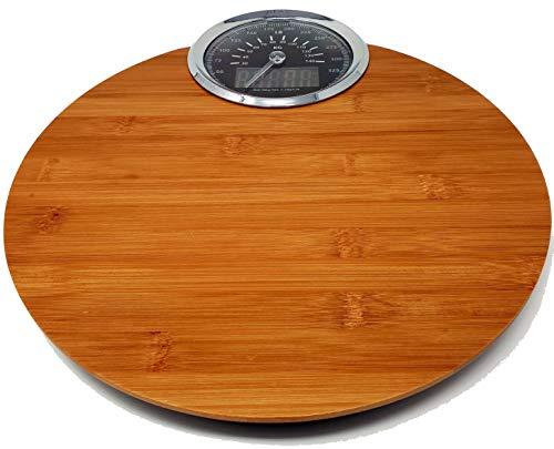 Analoge Lcd (CherryTreeHouse Digitale Badezimmerwaage, aus Holz, hochwertig, leicht ablesbares LCD- und analoges Display, metrisch kg/imperial lb, wasserfest, misst präzise bis 180 kg)