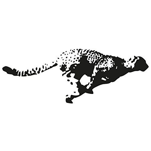 Wadeco Gepard Wandtattoo Wandsticker Wandaufkleber 35 Farben verschiedene Größen, 40cm x 15cm, schwarz
