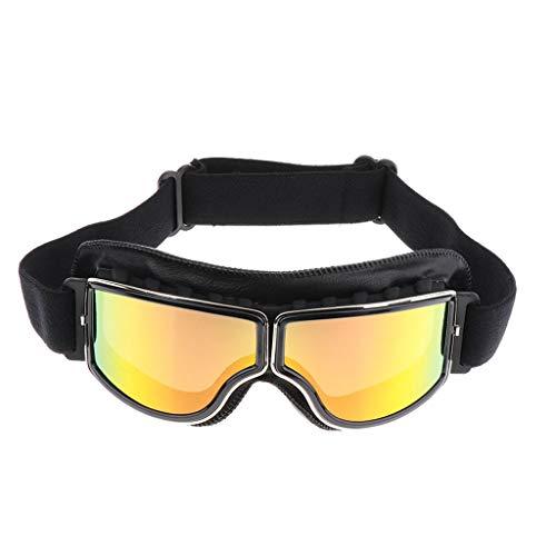 Gazechimp Farbiger PU-Leder Motorradbrille Schutzbrille Überbrille Sonnenbrille Helmbrille Uv-Schutz