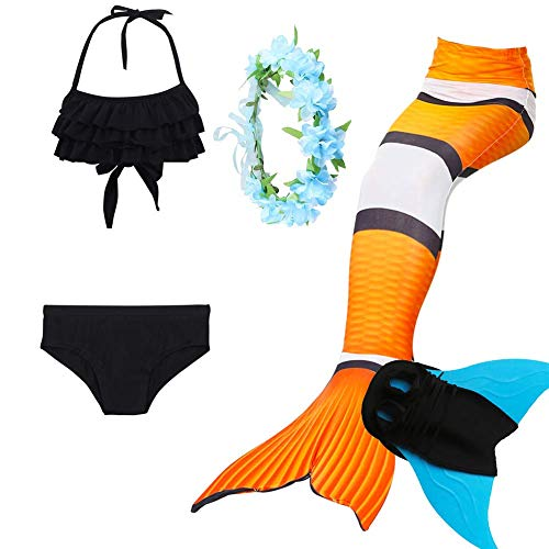 5-Teiliges Set Mädchen Badeanzug Beste Meerjungfrauenschwanz Mit Meerjungfrau Flosse Zum BadeanzüGe Kinder Prinzessin Cosplay Kostüm Bikini Schwimmen
