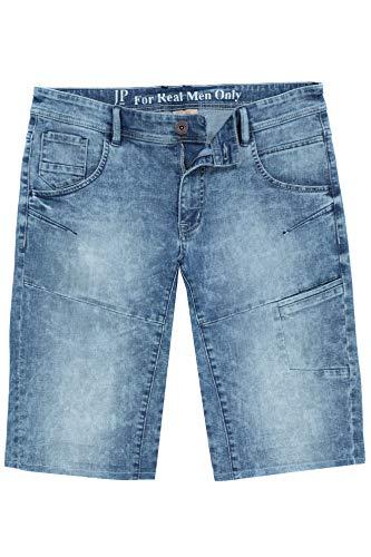 JP 1880 Herren große Größen bis 70, Bleached Jeans-Bermuda, 5-Pocket-Passform, gekrempelter Saum, Straight Fit, Gerade geschnittenes Bein, Bleached Denim 62 721122 99-62