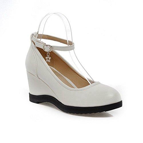 Balamasaapl10095 - Sandales Compensées Femme Blanche