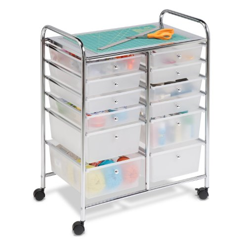 Honey-Can-Do CRT-01683 Rolling Cart, Clear, 30.75H x16W