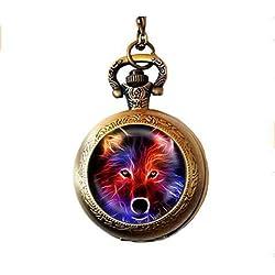 Fractal Wolf - Collar con colgante de perro, diseño de lobo