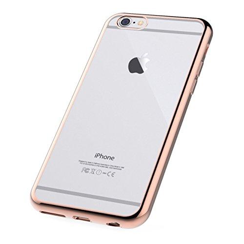 iPhone 6S Plus Hülle Cover Case - iHarbort® Schutz Apple iPhone 6 6S Plus klare weiche TPU Gel-Silikon-Kastenabdeckung mit Innen Metall beschichtete Kante (transparente Rückseite + farbig überzogene F Gold