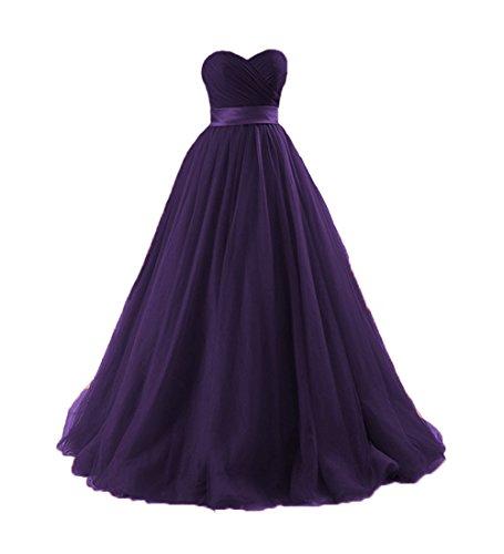O.D.W Damen Formales Tuell Vintage Party Ballkleid Lange Brautkleider Brautjungfernkleider (Violett,...