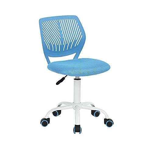 Carnation - Siege Chaise de Bureau Enfant en Tissu Dactylo en Tissu Ajustable avec Roulettes Bleu