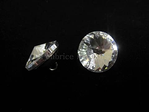 2 Glass crystal buttons - 20mm diameter - Upholstery sewing