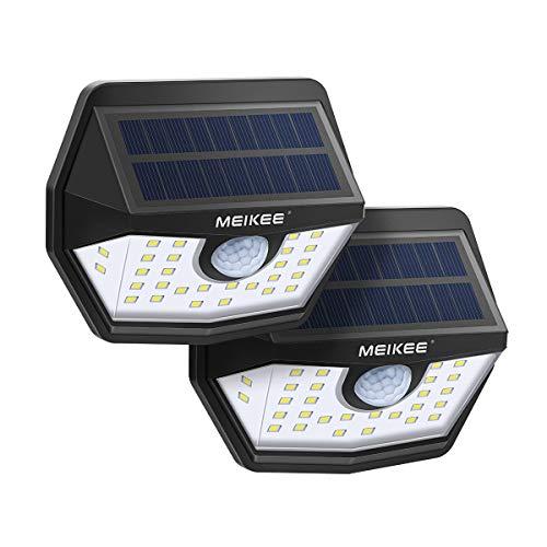 MEIKEE Lámparas Solares con Sensor de Movimiento 450LM LED Preparadas para exterior con protección IP65 Iluminación de Seguridad blanco frío para jardín, terraza, camino, trastero (2 unidades)