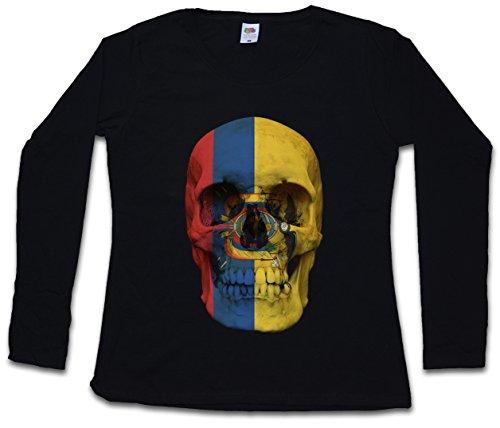Ecuador Skull Flag Damen Langarm T-Shirt Größen XS - 2XL -