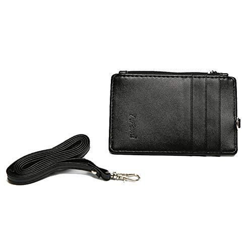 Ogem Damen RFID Slim Kreditkarten-Halter ID Card Case Holder Wallet mit Umhängeband - Schwarz - Einheitsgröße -