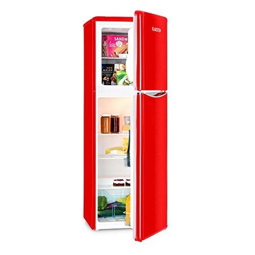 Klarstein Monroe XL Kühlschrank Gefrierschrank Kühl- und Gefrierkombination 70 Watt 5-stufig regelbar 3 Kühlebenen 97 L Volumen 41 dB inkl. Eiskratzer und Eiswürfelbereiter rot
