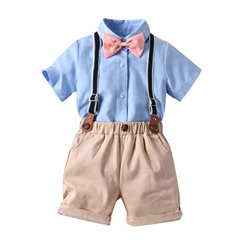 Julhold Kleinkind Jungen Kinder Solide Lässige Kleidung Dünnes T-Shirt Oberteile Shorts Overall Krawattenoutfits 0-5 Jahre