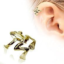 Rana de árbol de ajustable chapado en oro de cuatro patas falsos (no Piercing) rígida Barra de cartílago de la oreja