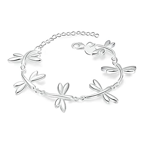 AMDXD Jewerly Gold Plated Women Charm Bracelet Silver Butterfly Shaped 20CM,as Best Gift