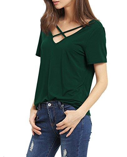 Suimiki Damen Sommer Kurzarm T-Shirt V-Ausschnitt mit Schnürung Vorne Oberteil Tops Bluse Shirt Dunkelgrün