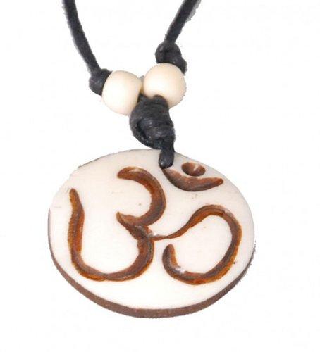 Kunst und Magie Om Anhänger Tibet Yakbone Amulett Tibet Yoga, Farbe:Beige