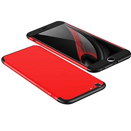 iphone 6/6 plus Coque Pacyer® Protection Dur PC 3 en 1 Full Cover 360 Housse Mince Bumper Etui Accessoires Anti-rayures Mat Anti-Rayures Pour iphone 6s/6s plus Z rouge+noir