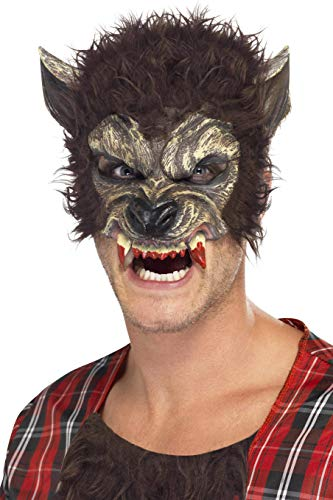 Smiffys Swiffys Herren Werwolf Halb-Gesichtsmaske mit Fell und Zähnen, One Size, 22711