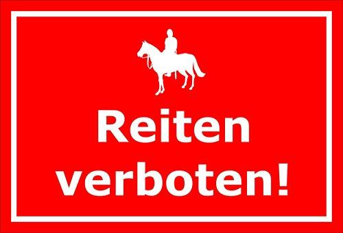 Schild Achtung Vorsicht Reiten verboten Reiter Reiten Pferd – 15x20cm, 30x20cm und 45x30cm - Aufkleber Hartschaum Aluverbund -S00034D