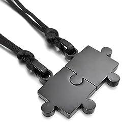 Idea Regalo - MunkiMix 2 PCS Acciaio Inossidabile Pendente Ciondolo Collana Nero Jigsaw Puzzle Amore San Paar Lui & Lei Set Regolabile 20~22 Pollici Catena Catenina Uomo,Donna