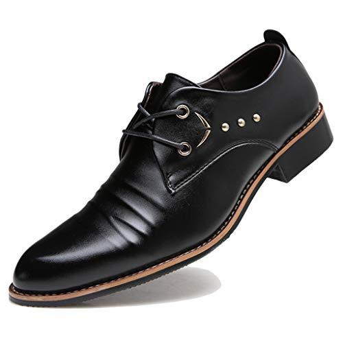 GanSouy Herren Schule Spitze Zehe Uniform Low-Top Schuhe Hochzeit formelle Kleidung Oxfords aus schwarzem Leder Schnürschuhe Office Work Derby Schuh,A- 6 UK / 40 EU -