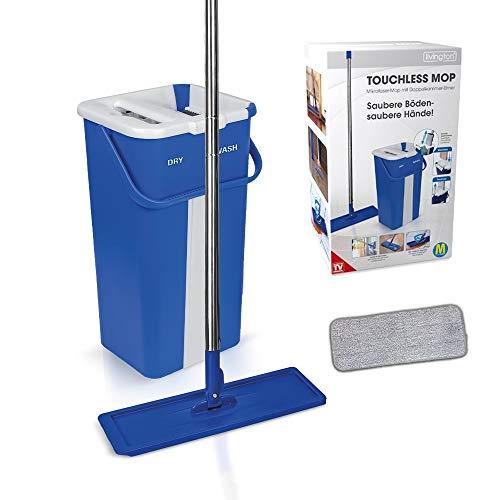 Mediashop Livington Touchless Mop Selbstreinigungssystem Mopp ✓ inkl. Eimer 2,7 Liter ✓ Reinigung für alle Arten von Böden ✓ Fliesen ✓ Parkett ✓ Linoleum ✓ Laminat   Das Original aus dem TV