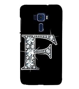 Alphabet F 3D Hard Polycarbonate Designer Back Case Cover for Asus Zenfone 3 Deluxe ZS570KL