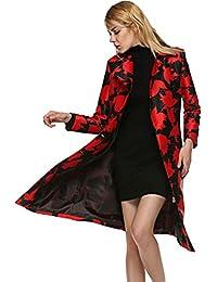 FINEJO Thick Cotton Blend Jacket Collar Waist Belt Slim Fit Trench Coat Women