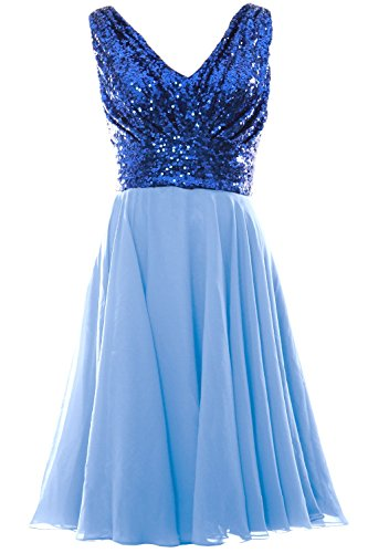 MACloth Women V Neck Sequin Chiffon Short Bridesmaid Dress Formal Evening Gown Royal Blue-Sky Blue